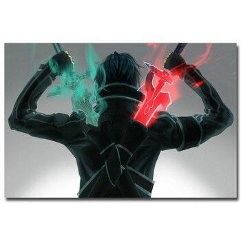 Аниме плакат гобелен шелковый Мастер меча онлайн 2 кирито