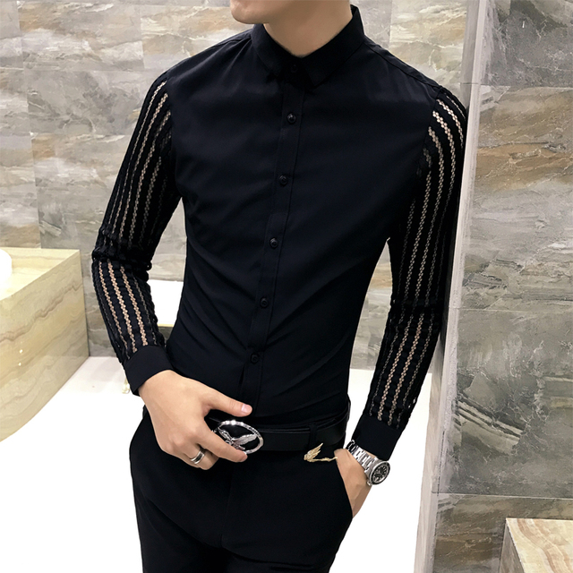 Men Shirt 2019 Spring Hollow Lace Patchwork Long Sleeve Shirt Men Streetwear Mens Shirts Casual Slim Fit Night Club Dress Tuxedo 1