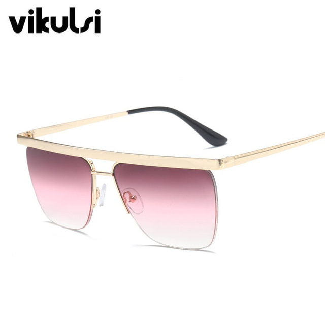 2018 Fashion Rimless Oversize Women Sunglasses Metal Frame Luxury Brand Designer Men Square Top Flat Female Sun Glasses Gafas