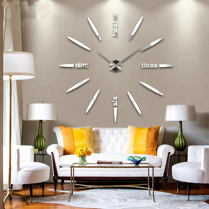 New Wall Clock Living Room DIY 3D Home Decoration Mirror Large Art - living room clock