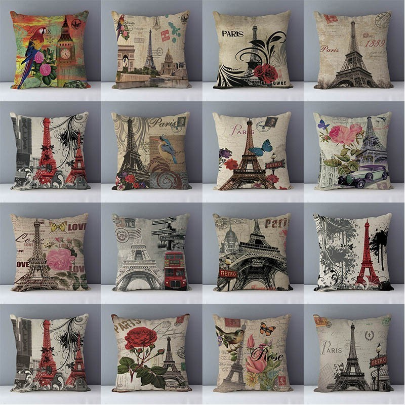 Retro Nostalgic European Scenic Buildings Printed Cushion For Couch Home Decorative Pillows Cushions 45x45cm Linen Pillowcase QX