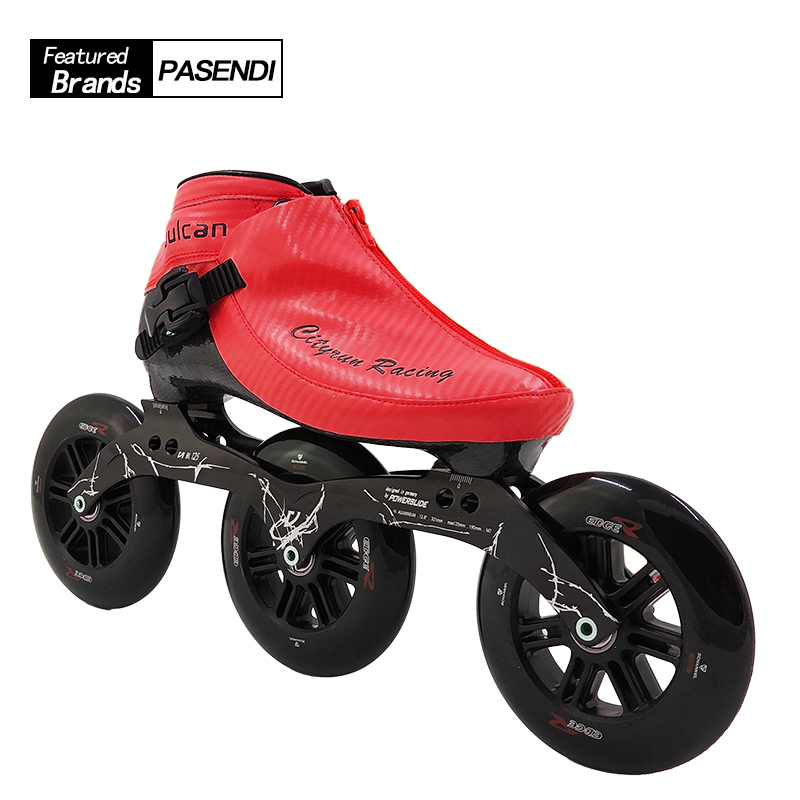Professional Speed Skate Shoes Auluts Kids 3x125 Frame Roller Skating 125MM Big Round Wheel Inline Skate Boots Red Yellow Blue professional speed skate shoes frame women men inline skating shoes roller skates big wheels 3x125 frame adults