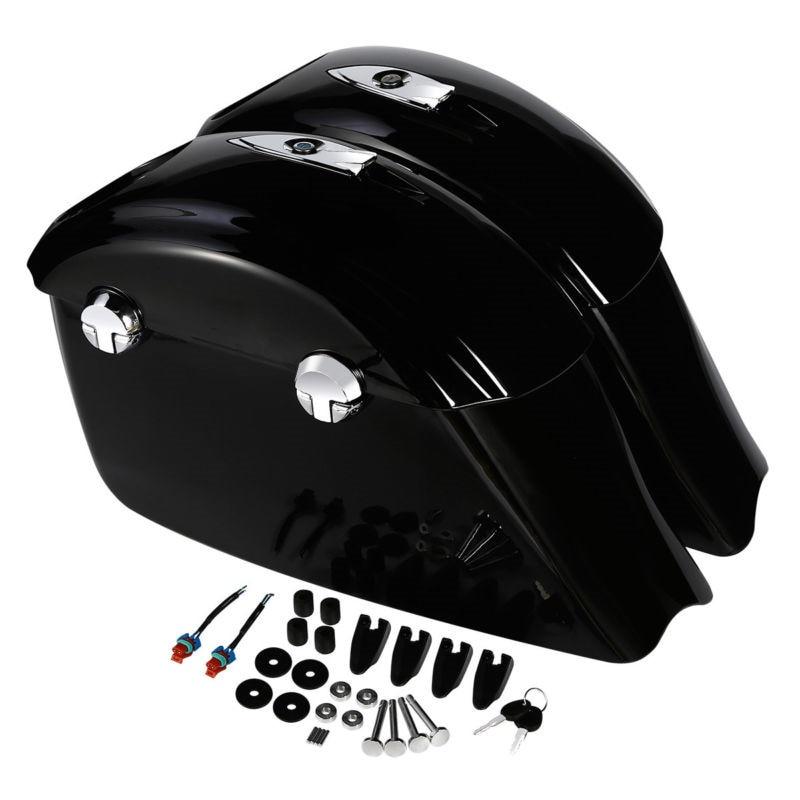 Sac de selle noir brillant loquet électronique Concert Audio couvercle pour chef indien cheval foncé classique accessoires de moto