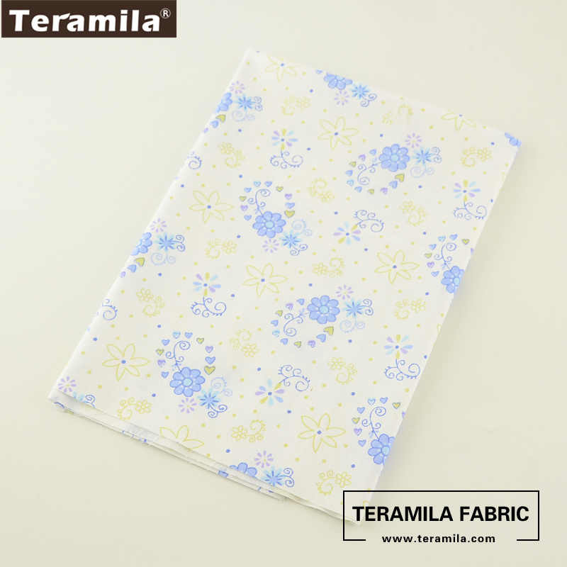Teramila Cotton Fabric Printed Little Blue Flroal Designs Twill Material Tissue DIY quilting Pillow Cloth Patchwork Baby Cloth