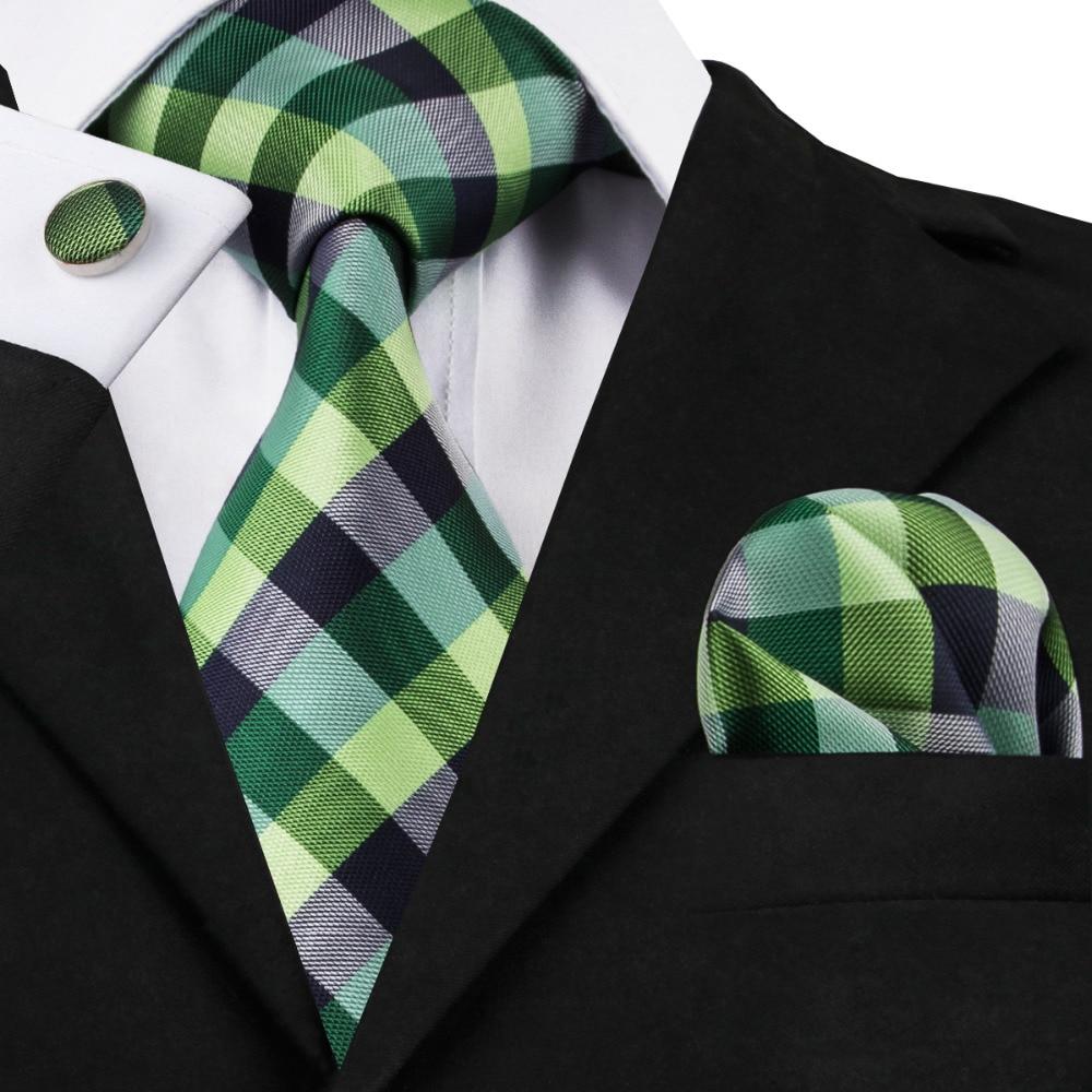2016 Fashion Green Black And White Plaid Tie Hanky Cufflinks Silk Necktie Ties For Men Formal Business Wedding Party C-406