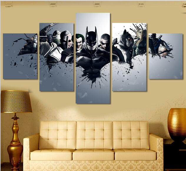 Online Shop Framed art 5 Panel Wall Art Kung Fu Panda Oil Painting ...