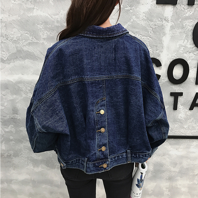 Fashion Bawing Sleeve BF Denim Back Buttons Short Jacket Jeans Spring Lagenlook Women Loose Coats Jean Plus Size Outerwear 3