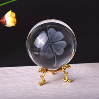 8cm Crystal Ball 3D Laser Four leaf clover Figurines Feng Shui Glass Ball Desktop Decoration Craft Home Decoration Accessories