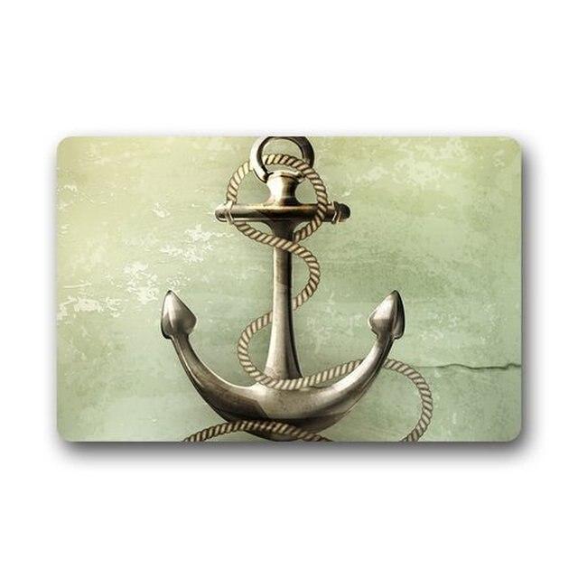 Roman S Doormat Custom Machine Washable Nautical Navy Anchor Theme Indoor Outdoor Rug Bathroom Kitchen