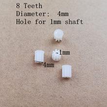 Nova chegada 4 peças 4mm 1mm 4*1mm 8t dentes engrenagem pequena para 720 peças de reposição de drone, 816 8520 motor sem fio motor r/c h37 drone quadcopter