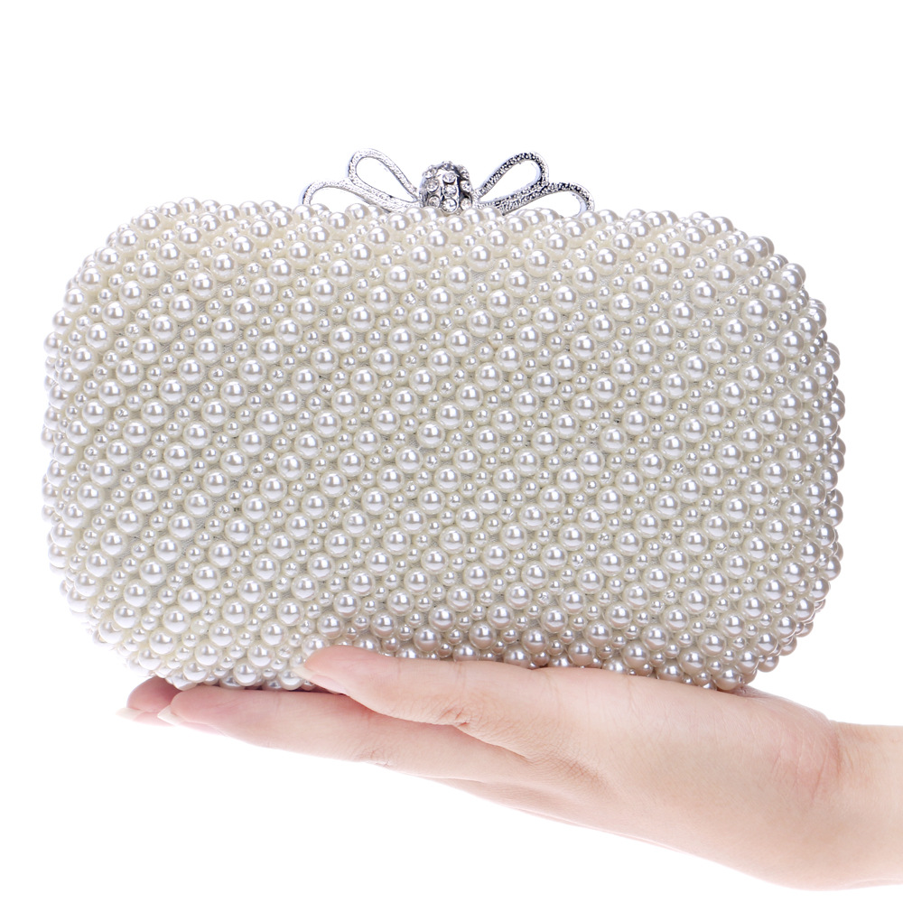 Women's Evening Clutches with Luxury Pearls, Beaded Day Clutch for Ladies, Chain Bag цены онлайн