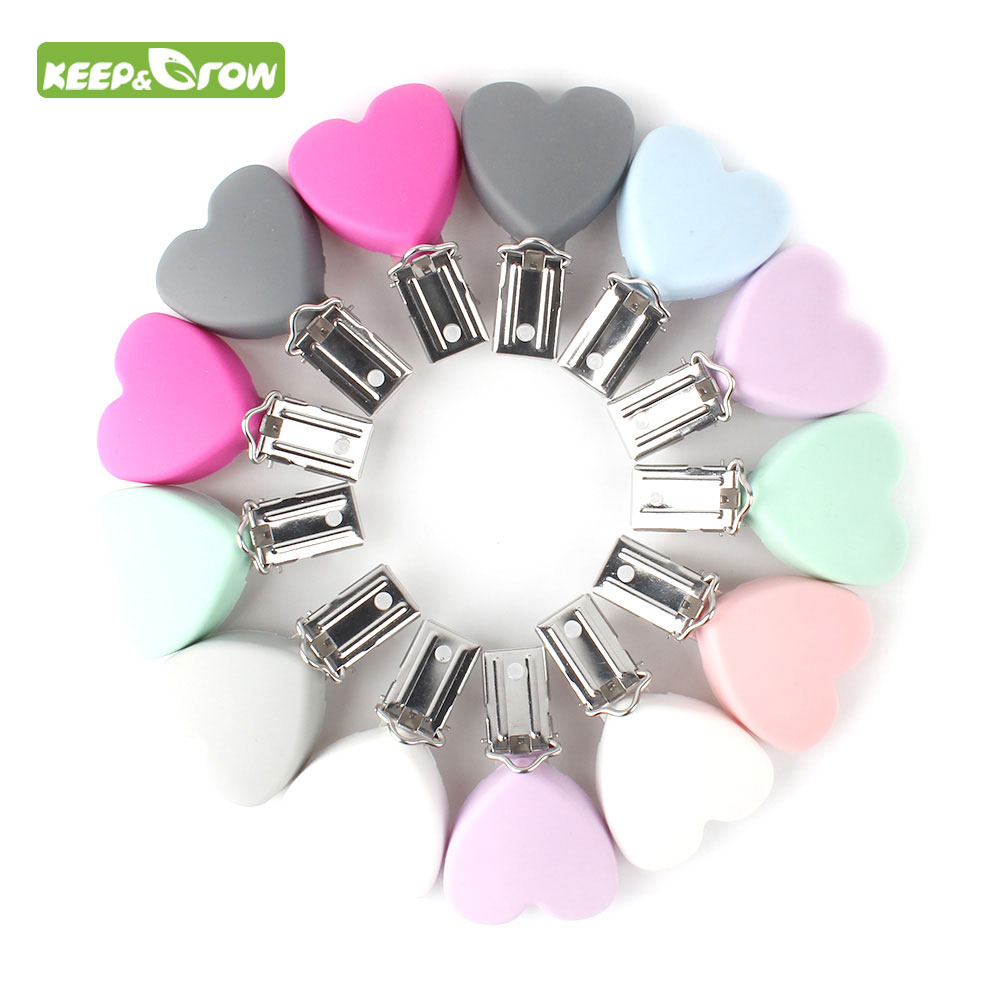 KEEP&GROW 3Pcs Stainless Silicone Baby Pacifier Clips Heart Nipple Clips Holder For Baby Teething Necklace Accessories Baby Toys