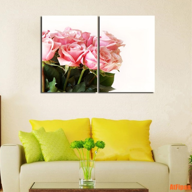 2 Pieces/Set Pink Roses Unframed Painting Print And Poster Canvas ...
