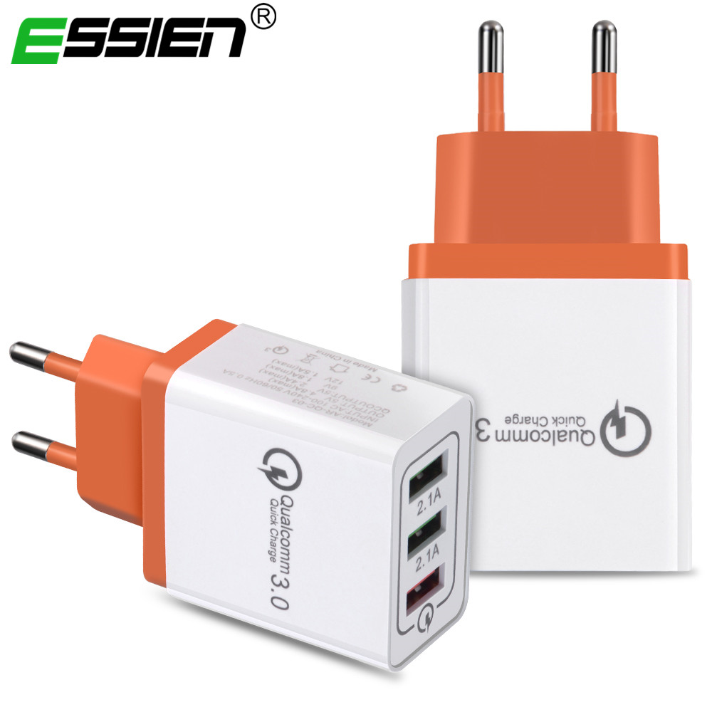 USB UE 18W Wall Charger Quick Charge 3.0 Fast Charger for Xiaomi Samsung Portable travel Charger USB Adapter micro usb cable