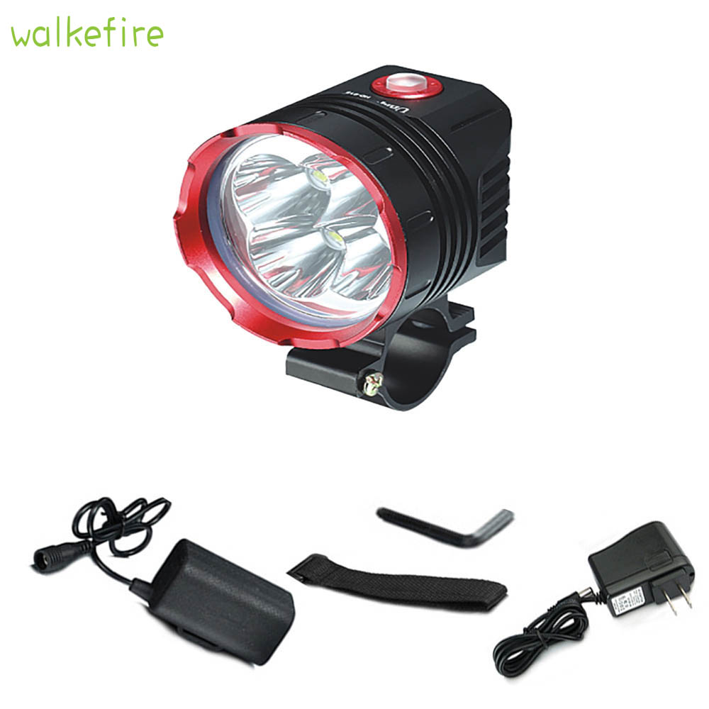 цена на Walkefire Bicycle Front Light 4 x XM-L L2 Led Cycling Light Bicycle Accessories Bike Lamp Headlight Waterproof with Battery Pack