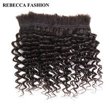Rebecca Brazilian Remy Deep Wave Bulk Human Hair For Braiding 1 Bundle Free Shipping 10 to 30 Inch Natural Color Hair Extensions(China)