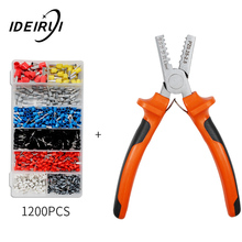 PZ0.25-2.5 Crimp Terminal Wire Connectors and Ferrule Crimper Plier Crimping Tool 1200pcs Tube Kit