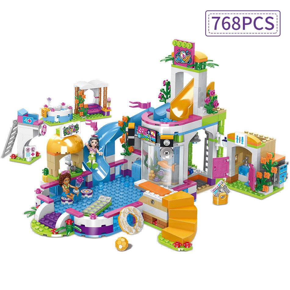 Friends Heart Lake Summer City Pool Party Girl's Assembling House Building Blocks Compatible Legoed Friends Brick Toy For Child