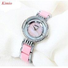 Mujeres KIMIO Relojes de marca de Lujo de Alta Calidad Simulada de cerámica Resistente Al Agua Mujer Relojes de pulsera de cuarzo Reloj de mujer 2016