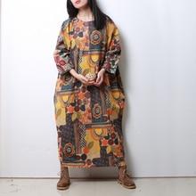 LZJN 2017 Women Ethnic Long Shirt Dresses Plus Size Cotton Dress 3 4 Sleeve  Gown 860b36adb833