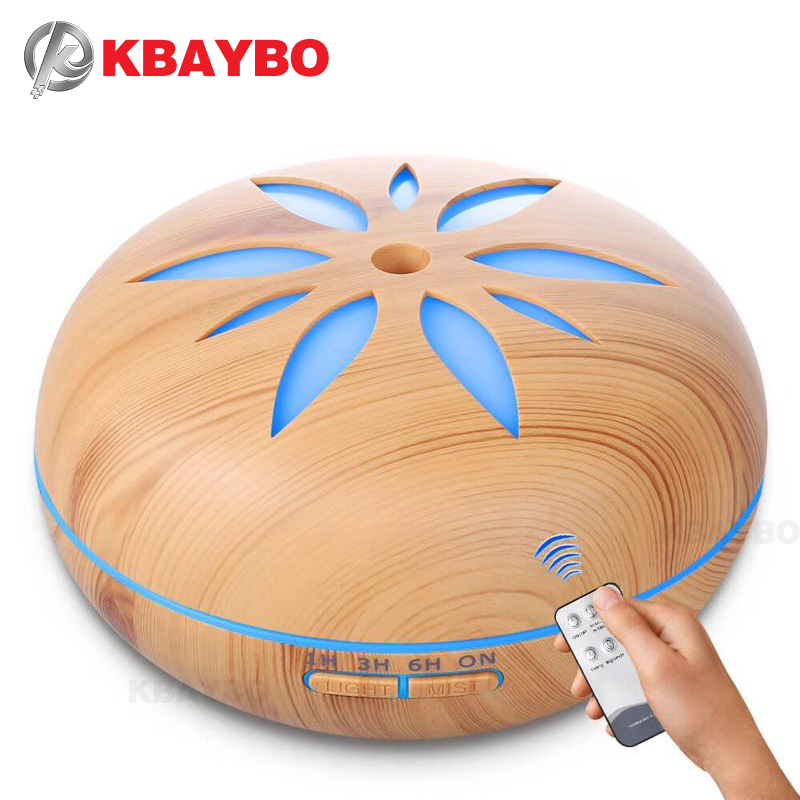 550ml Remote Control Ultrasonic Humidifier Essential Oil Diffuser Wood Grain Mist Humidifier LED Night Light for Office Home keyshare dual bulb night vision led light kit for remote control drones