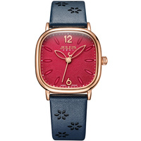 Julius Watches Women Square Face Red Dial Flower Design Leather Strap Montre Femme Vintage Whatch For