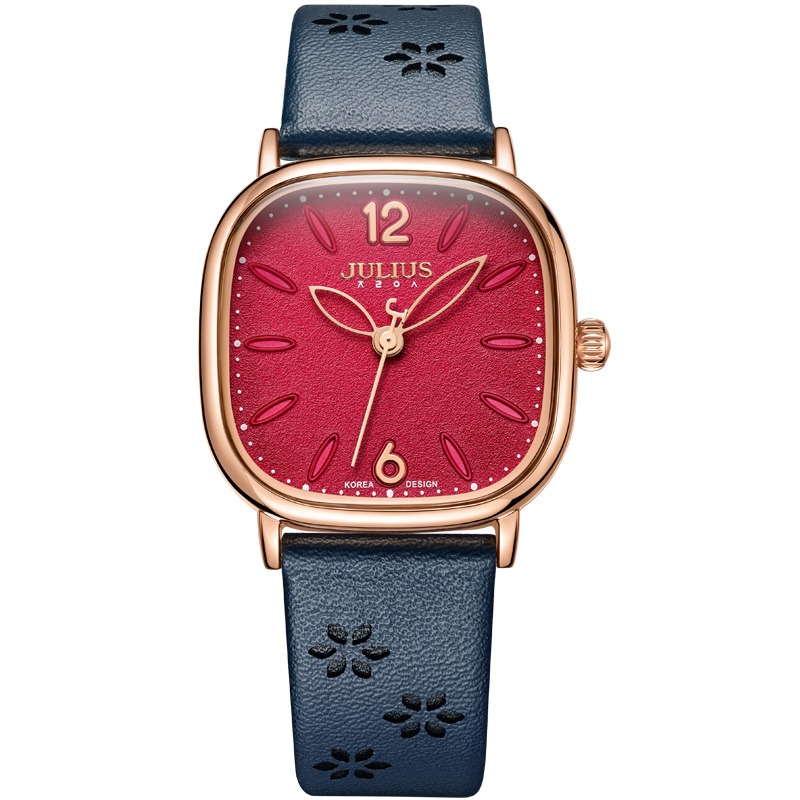 Julius Watches Women Square Face Red Dial Flower Design Leather Strap Montre Femme Vintage Whatch For ladies Dropshipping JA-970 pure white dial face ziz time watches navy