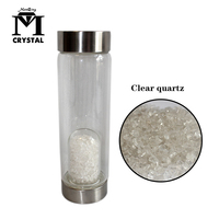 Natural Clear Crystal Quartz Gravel Gemstone Healing Glass Energy Elixir Water Bottle Clear Crushed Stone Crystal Cup