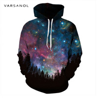 Varsanol Space Galaxy 3d Sweatshirts Men Women Hoodies With Hat Print Stars Autumn Loose Hoody Thin