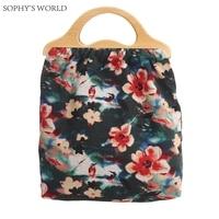 2017 Vintage Canvas Women Handbags Designer Wood Handle Bag Floral Shopping Tote Bag Clutch Purse Bohemia Women Beach Bags