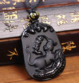 Fahion Jewelry Genuine Natural Black Obsidian Carved Chinese Zodiac First Rat Lucky Amulet Pendant Free Necklace