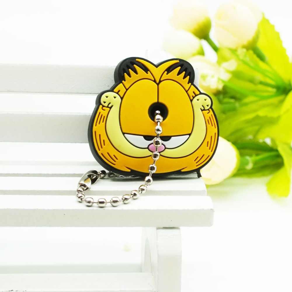 2018 Nova Anime olá kitty Tampa Chave bonito Garfield Garfield Dos Desenhos Animados Mario Keychain Maravilha Silicone Titular Anel chave da minie