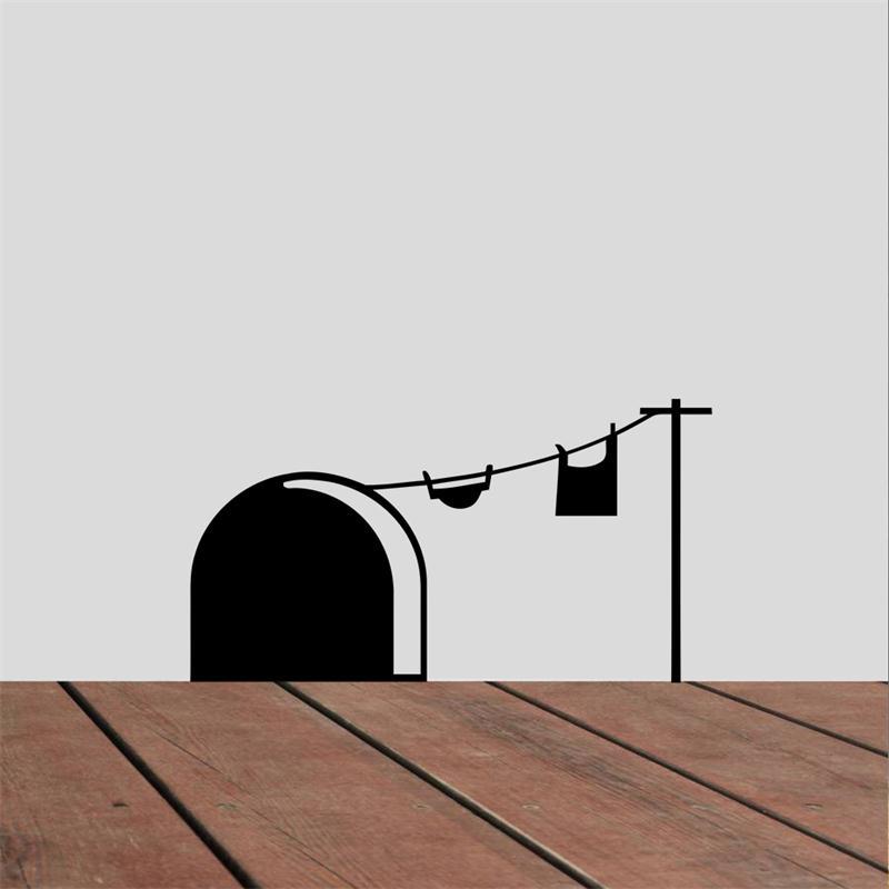 இFunny mouse ratas Hole ropa etiqueta de la pared casero creativo ...