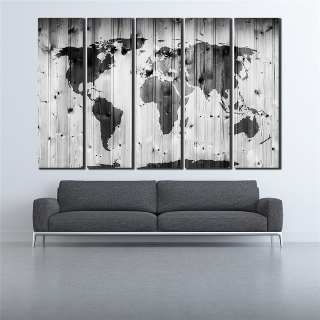 Vintage plank poster black and white world map canvas print oil vintage plank poster black and white world map canvas print oil painting poster pictures modular picture gumiabroncs Images