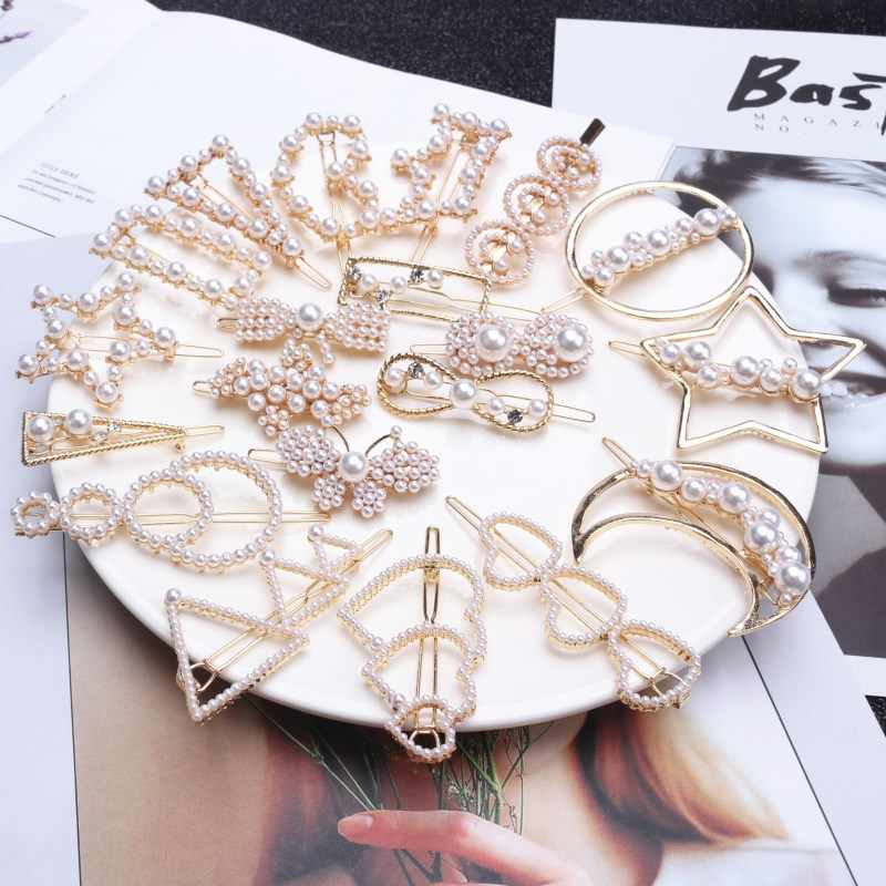 1Pc Fashion Crystal Rhinestones Hairpin Star Triangle Round Shape Women Hair Clips Pearl Barrettes Hair Styling Accessories
