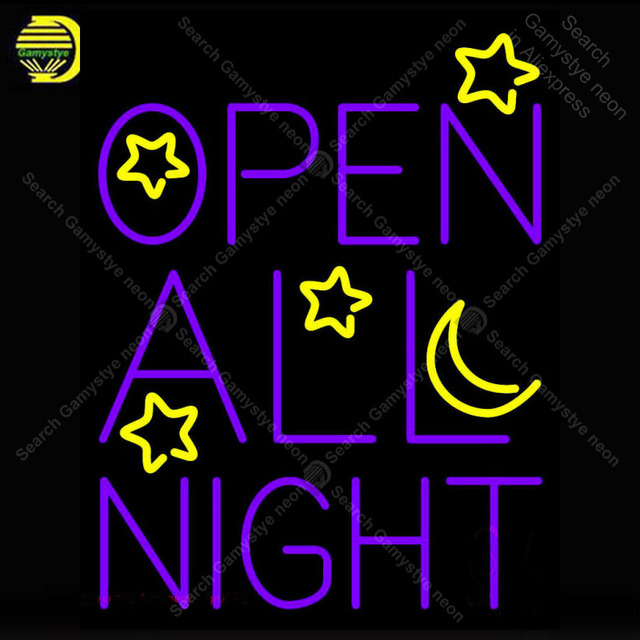Open All Night Neon Sign Moon And Stars Gl Handmade Light Decorate Wall