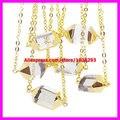 1 UNIDS Nueva Marca Declaración de Las Mujeres Collar Natural Punto de Cristal de Cuarzo Druzy Colgantes de Oro Chapado En Cadena de Collar de Día de San Valentín