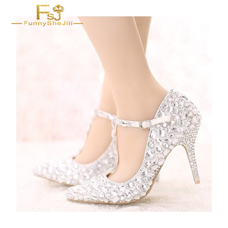 FSJ Women Shoes Ladies Pumps2108 Spring Autumn White Pointed Toe T-strap Crystal Heels Stiletto Wedding Big Size Shoes11 12 113