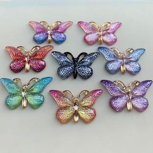 Image 3 - 色の蝶天然石凸シリーズフラットバックレジンカボションジュエリーアクセサリー 10 個 23*38 ミリメートルb27A