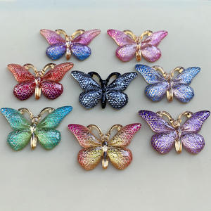 Image 3 - Mix Colors Butterfly Natural Stone Convex Series Flat back Resin Cabochons Jewelry Accessories 10pcs 23*38mm  B27A