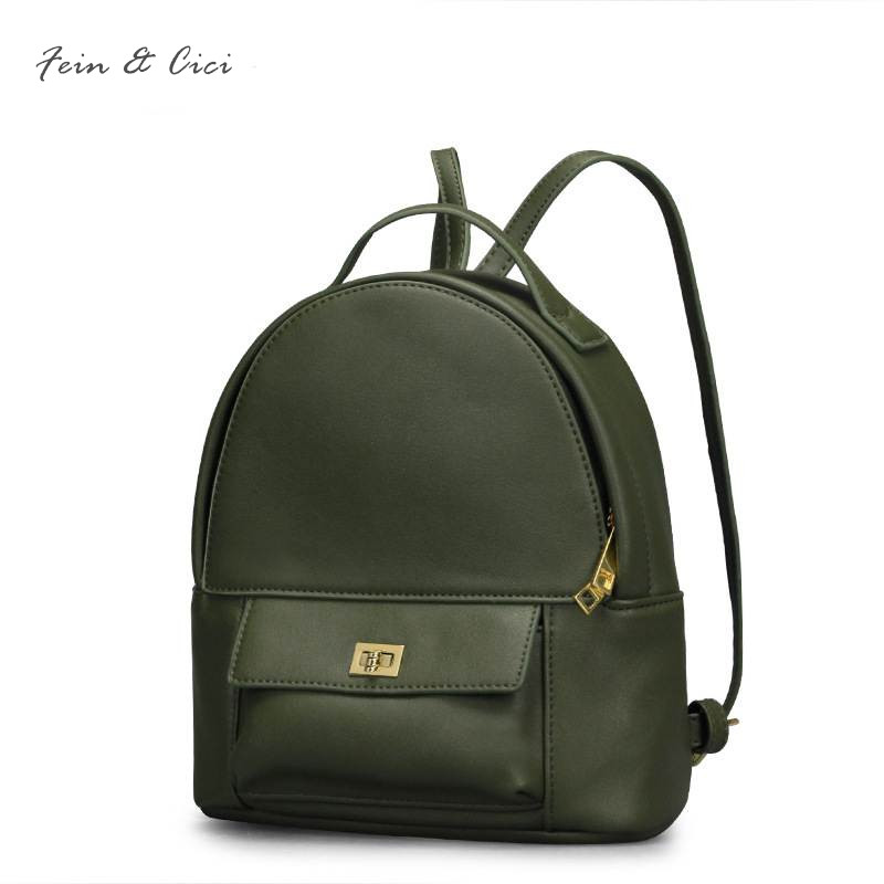 Backpack bag for women girl luxury brand high quality pu leather small Backpack shoulder bag black green brown color