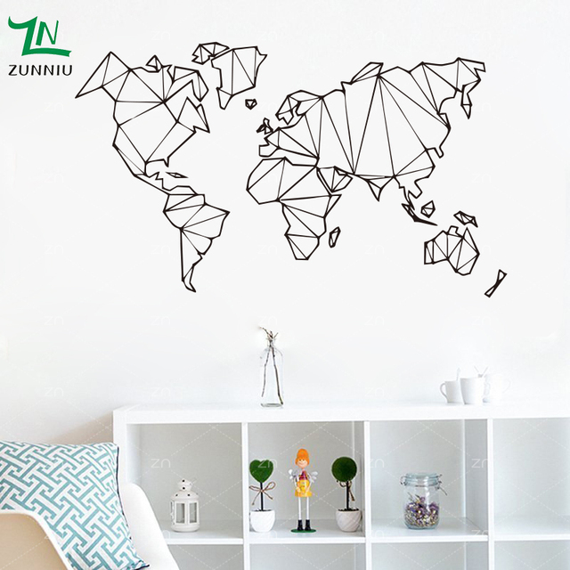 Abstract simple lines world map vinyl wall stickers living room abstract simple lines world map vinyl wall stickers living room bedroom removable decoration wall mural geography gumiabroncs Choice Image