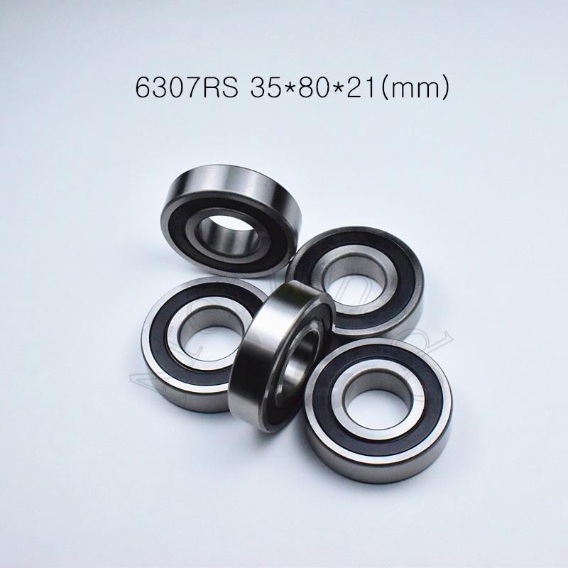 купить 6307RS 35*80*21(mm) 1Piece free shipping bearings ABEC-5 rubber sealing type chrome steel deep groove bearing 6307 6307RS по цене 945.64 рублей