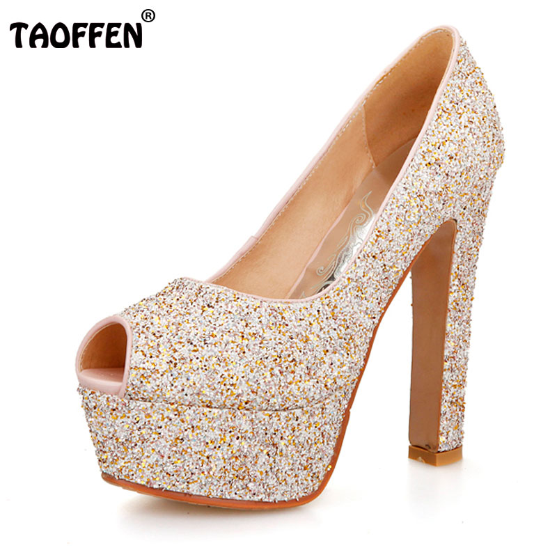 TAOFFEN women open peep toe high heel shoes platform sexy brand quality footwear heeled pumps heels shoes size 31-43 P18929 apoepo brand 2017 zapatos mujer black and red shoes women peep toe pumps sexy high heels shoes women s platform pumps size 43