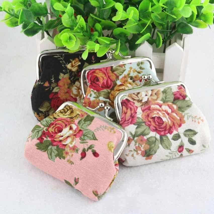 Novo Mulheres Senhora Retro Vintage Flor Pequena Bolsa Carteira Ferrolho Embreagem Saco portátil e elegante carteira para moedas de 2017