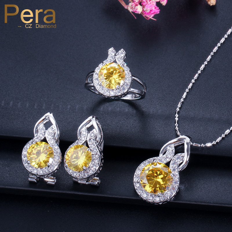Pera New Design Bridemaid Wedding Accessories 3 Stk Yellow Austrian Crystal 925 Sterlingsølv smykkesett for kvinner J002