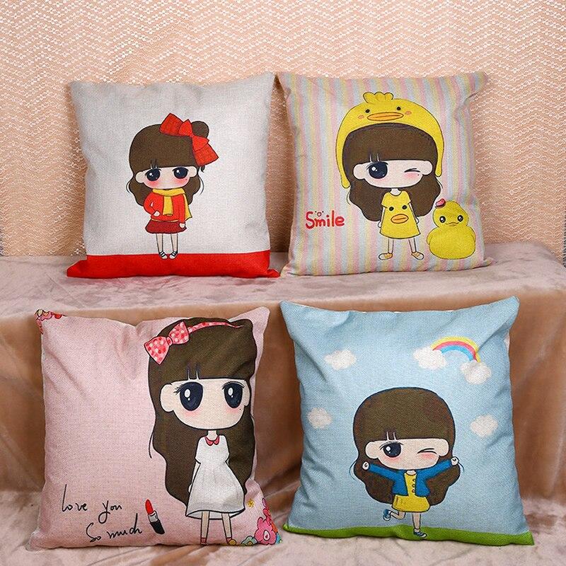 Cartoon Girl Home Decor Throw Pillow Case Pillowcase Cushion Cover Houseware Gift Decorative Pillowcase Cover 45*45cm F