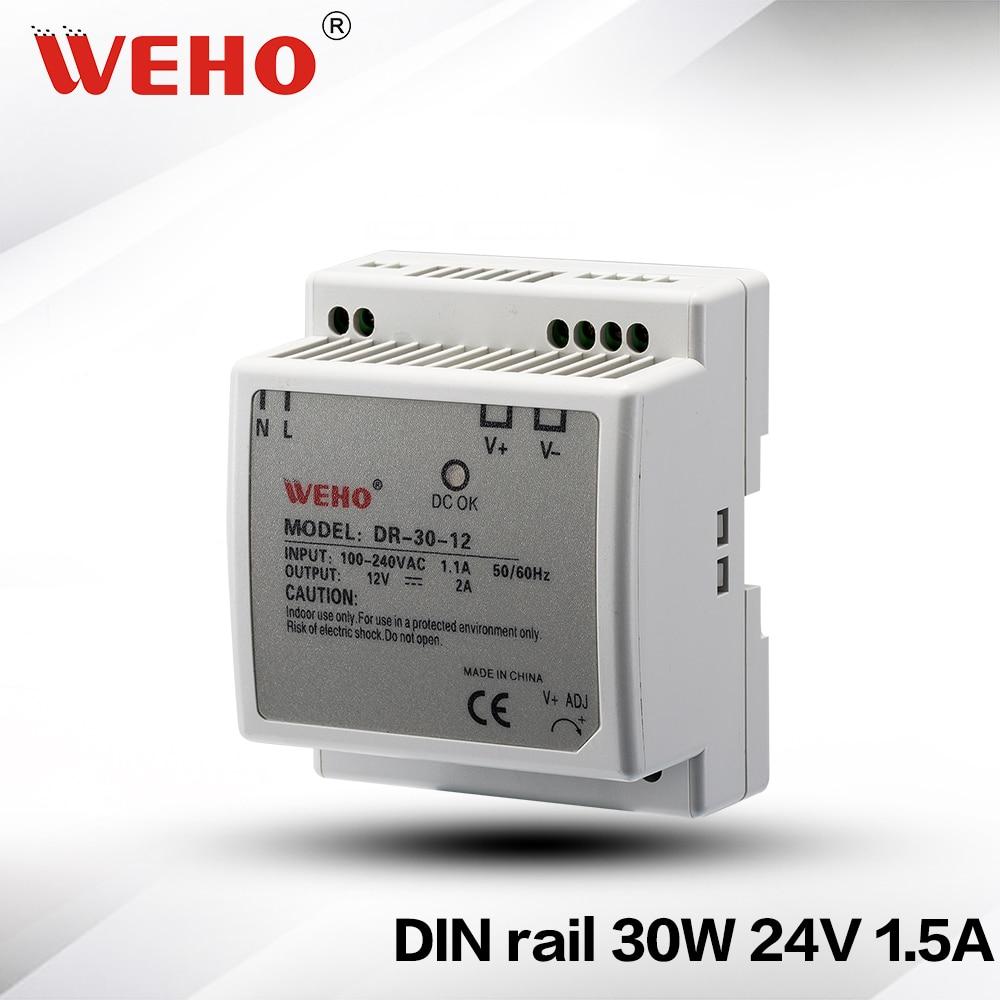 (DR-30-24) DIN Rail series 24VDC 30W Plastic Case power supply DR 24v industrial din rail power supply 30W