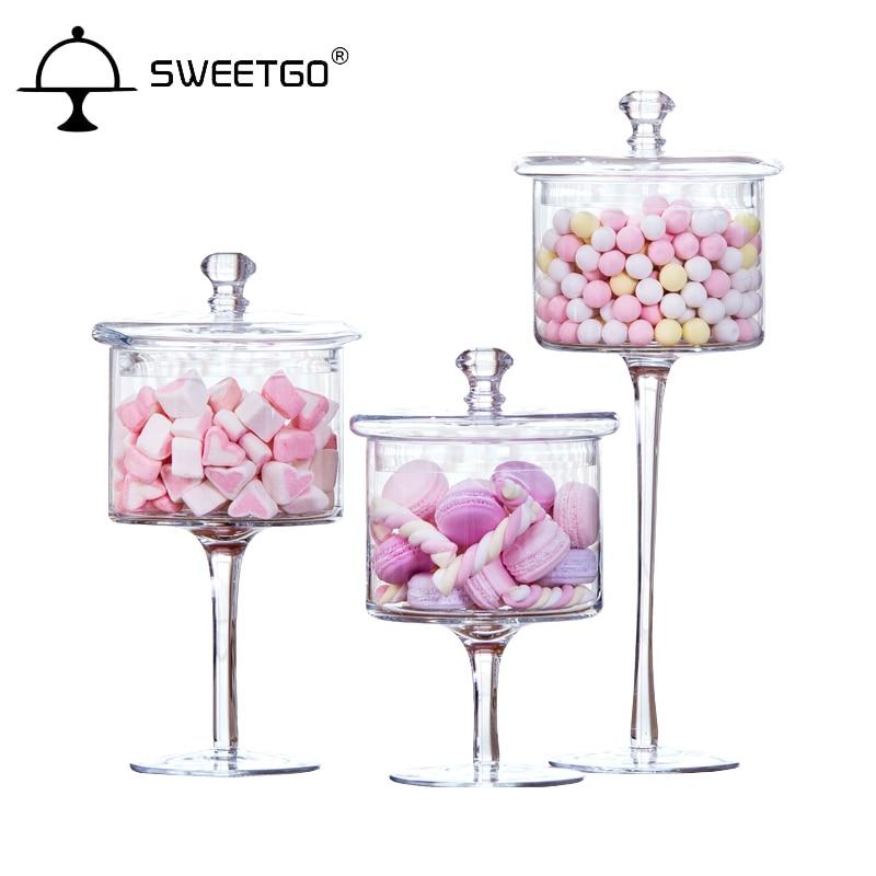 Sottile alto Trasparente di Vetro vaso della caramella con decorazione dessert Matrimonio caramella, snack, secca vaso di frutta 3 Pz/set