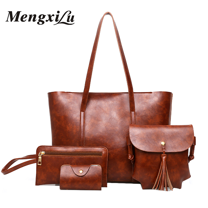 4 Pcs/Set Leather Women Bag Brand Luxury Designer Handbag 2017 High Quality Composite Bag Large Capacity Women Shoulder Bag luxury genuine leather bag fashion brand designer women handbag cowhide leather shoulder composite bag casual totes